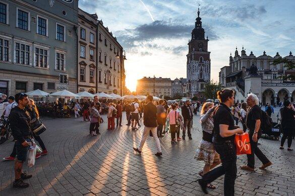 Tourists sightseeing in Krakow